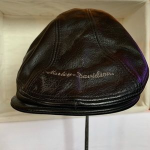 Harley Davidson Black Leather Newsboy Flat Hat